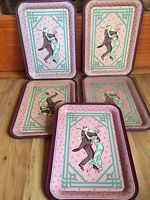 Set Of 5 1983 First Edition Armstrong Carpet Collector's Series Metal Trays
