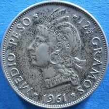 DOMINICAN REPUBLIC ½ PESO 1961 SILVER Dominicana Dominikanische Dominicaine Dom