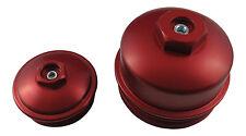 6.0L Powerstroke RED Billet Fuel Filter + Oil Filter Cap SET with Test Ports