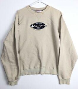 A1 Vintage Authentic Champion Athletic Crewneck Sweatshirt Large Cream Off White