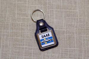 Saab 900 Cabriolet Keyring - Leatherette & Chrome Keytag