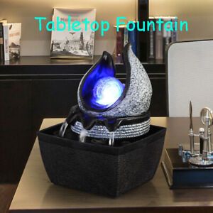 Indoor Tabletop Illuminated Fountain Water LED Lights Spinning Ball Home Decor