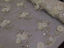 Ivory Floral Ribbon Embroidery Metallic Sequin Lace Fabric on Mesh Dress fabric