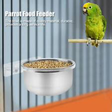 Bird Cage Stainless Steel Food Feeder Bowl + Rack Parrot Parakeet Cage Accessori