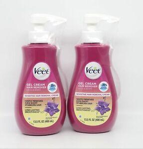Veet Gel Hair Remover Cream Legs Body, Sensitive Formula 13.5 oz x2 with Aloe