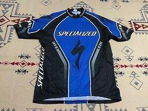 Specialized Cycling Jersey Full Zip Shirt Blue 3 Pockets Mens XXL Italy C7