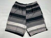 Nike Men's Swim Trunks Mesh Lined  Swimsuit Shorts,Black Gray Striped,XL