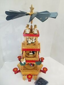 """Vintage 21.5"""" Christmas Nativity Carousel Music Box 4 Tier Windmill Candle Power"""