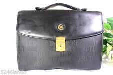 Vintage CERRUTI 1881 Black Nylon and Leather Briefcase Handbag Hand Bag Italy