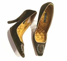 DOLCE & GABBANA SHOE SCULPTED HEEL MONOGRAM EMBROIDERED SUEDE QUILTED INSOLES 36