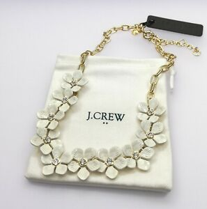 J.Crew White Crystal Flower Gold Tone Chain Statement Necklace NWT IN POUCH