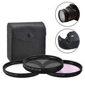 72mm 3 Piece HD Lens Filter Kit For Canon Nikon Sigma Sony Fujifilm Olympus Lens