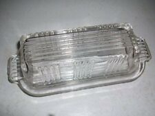 Federal Clear Depression Glass Ribbed 1/4 Pound Covered Butter Dish w Lid