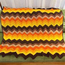 Vtg Handmade Crochet Afghan Granny Blanket Chevron Orange Yellow Brown Boho