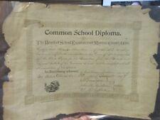 1897 Morrow County Ohio Westfield Township Cardington Common School Diploma RARE