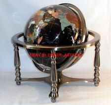 "Last 2! 20"" Tall Black Ocean Silver Leg table Gem Gemstone Globe w 50 ST Stones"