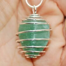 "South African Green Aventurine Crystal Perfect Pendant™ 20"" Silver Chain"