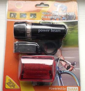 LED BICYCLE LIGHTS X 2 HEAD LIGHT AND REAR LIGHT FREE BATTERIES
