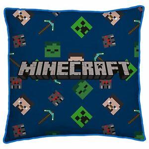 Minecraft Creeps Cushion Boys Bedroom Reversible Design Blue Official