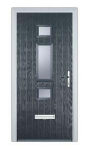 Grey Modern Composite Door Made to measure-Brand new-glazed Stippolyte glass