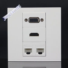 Wall Socket Plate 4 Ports Cat5 RJ45 LAN Network & VGA & HDMI  Panel Faceplate