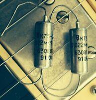 0.022 uF 630V MATCHED PAIR PIO Paper-in-Oil Audio Capacitors K75-12 NOS 2 pcs