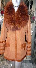 GENUINE Shearling Fur Short Coat TANUKI FUR Collar RUST SHADE LEATHER