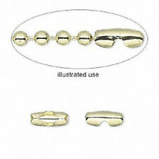 1301FN Gold plated Brass Ball Chain Connector Clasp, fits 3.2mm chain, 100 Qty