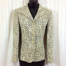 TALBOTS PETITES Black Ivory Silk Blend Tweed Blazer Jacket SZ 6P