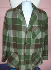 Pendleton 49er Jacket Mens M 1960's Vintage Woodsy Green/Brown Plaid Fun Flaw