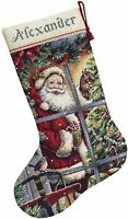 """COUNTED CROSS STITCH Christmas Stocking KIT CANDY Cane Santa Dimensions 16"""""""
