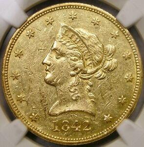1842 O LIBERTY HEAD $10 GOLD EAGLE VERY SCARCE APPEALING SHARP BEAUTY NGC AU 53