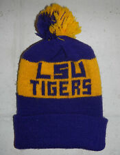 Vintage LSU Louisiana State University Tigers Winter Pom Pom Beanie Ball Cap Hat
