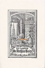 Ex Libris - Dr. Arthur Seitz - Dokument Grafik Leipzig Theodor Jahn Berlin