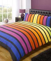 Soho Multi Stripe Duvet Quilt Cover Boys Girls Kids Bedding Set Blue Yellow Red