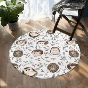 Brown Animal Wild Hedgehog Nature Leaf Round Rug Carpet Mat Living Room Bedroom