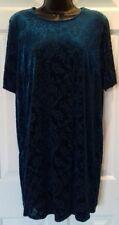 New Dorothy Perkins Size 14 blue floral shortsleeve velvet tunic dress christmas
