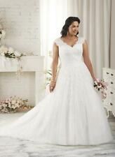 New Plus Size White/Ivory Bridal Gown Lace Wedding Dress Stock Size:14---26
