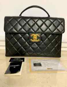 Authentic Chanel CC Briefcase Vintage Quilted Jumbo Limited Edition 1997 Black 2