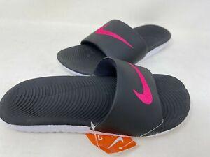 NEW! Nike Women's Kawa Slide Sandals Black/Vivid Pink #834588-060 126EF tz
