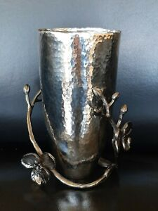 "MICHAEL ARAM ""Black Orchid"" Small 7"" Hammered Metal Vase"
