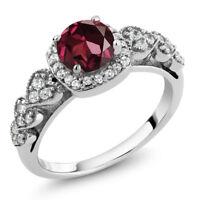 1.32 Ct Round Red Rhodolite Garnet 925 Sterling Silver Ring