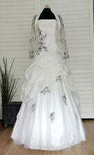 Robe de mariée Miss Paris T 42 ivoire/noire en taffetas avec boléro dentelle