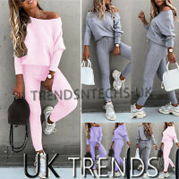 Ladies Knitted Loungewear Women Off Shoulder Tracksuits 2 Pcs Set Ladies Joggers