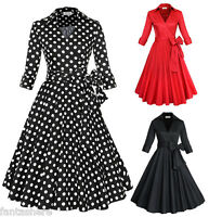 Womens Vintage 1950s Rockabilly Polka Dot Swing Housewife Party Dress Plus Size