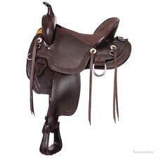 17 Inch Western Mule Saddle - Dark Oil Leather - Mule Bars - 7 Inch Gullet