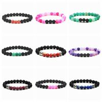 7 Charkra 8MM Natural Stone Healing Beaded Bracelets Stretch Diffuser Bangle