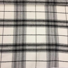 "Ivory & Grey ""Lomond Check"" Checked,Plaid Tartan Tweed Effect Upholstery Fabric"