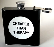 Cheaper Then therapy Stainless Steal Hip flask 8 fl oz Black White