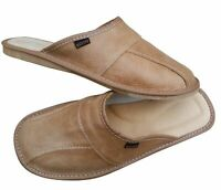 Men's Brown Leather Slippers Slip On Shoes Size 7 - 13 Summer Mules Scuff Beach